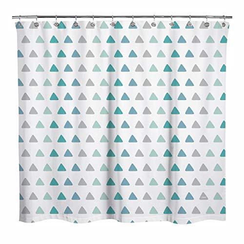 Sunlit Duschvorhang mit geometrischem Dreieck-Muster, Grün & Grau, moderner Stil, Grün & Grau