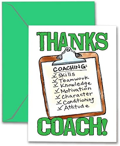 Play Strong Thanks Coach Clipboard Green 3 Pack Sports POWERCARD Greeting Card Stationery 5x7 product image