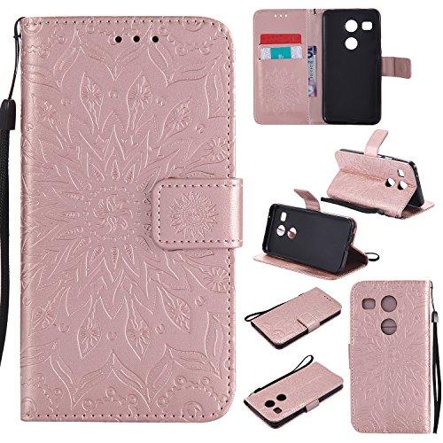 Jeewi Hülle für LG/Google Nexus 5X Hülle Handyhülle [Standfunktion] [Kartenfach] [Magnetverschluss] Tasche Etui Schutzhülle lederhülle flip case für LG Nexus 5X - JEKT031494 Rosa Gold