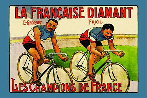 Francaise Diamant Georget Friol Champions de France Rennrad Blechschild Metallschild Schild gewölbt Metal Tin Sign 20 x 30 cm