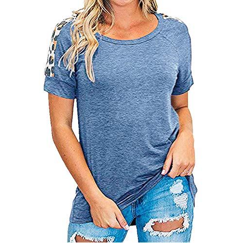 N\P Camiseta de manga corta para mujer con cuello redondo y tubo recto