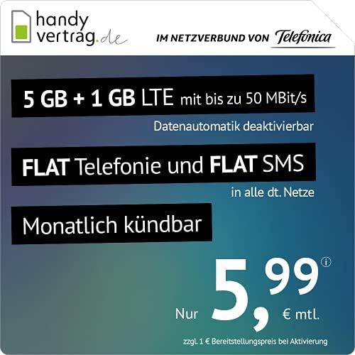 handyvertrag.de LTE All 5 GB + 1 GB – mensual (Flat Internet 6 GB LTE con máx. 50 Mbit s con Datos automáticos desactivables, telefonía Plana, SMS y UE extranjera, 5,99 Euros Mes).