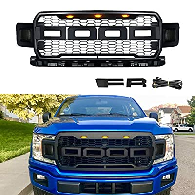 DOOd Front Grille For F150,Fit For Raptor Grill F-150 2018-2020,Including XL, XLT, LARIAT, King Ranch, Platinum and Limited,With 3 Amber Lights,Matte Black
