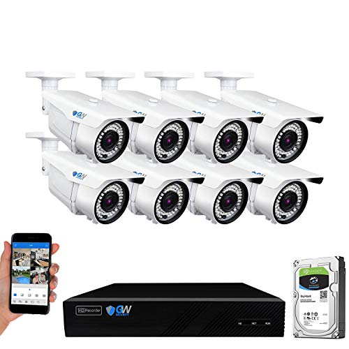GW Security 5MP (2592x1920p) 8 Channel 4K 8MP NVR PoE Outdoor Security Camera System - 8 x 5MP HD 2.8~12mm Varifocal Zoom 196ft IR IP Camera, VD8C8CH5080C