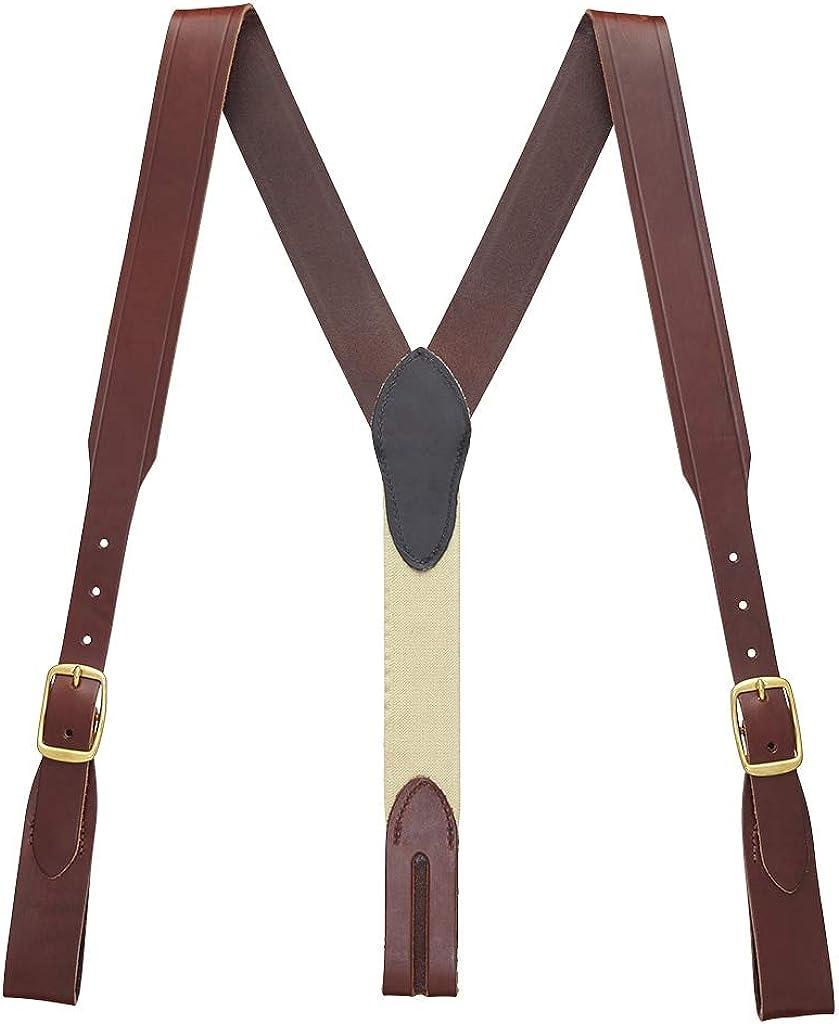 SuspenderStore Men's Plain w/Crease Handcrafted Western Leather Belt Loop Suspenders