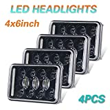CO LIGHT 4pcs 4x6 Inch LED Headlights DOT Approved 73W Rectangular Replacement H4651 H4652 H4656 H4666 H6545 for Peterbil Kenworth Freightinger Ford Probe Chevrolet Oldsmobile (1002WM-Black-4pcs)