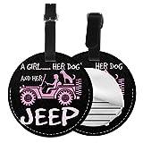 Kofferanhänger PU Leder EIN Mädchen Ihr Hund Ihr Jeep, Gepäckanhänger ID Etikett Mit Adressschild Namenschild für Reisetasche Koffer