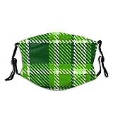 Copertura del fronte Mosaico di piastrelle britanniche irlandesi a scacchi, vecchio stile nei vivaci colori verde, verde smeraldo verde lime Filtro antirumore regolabile per bocca antipolvere