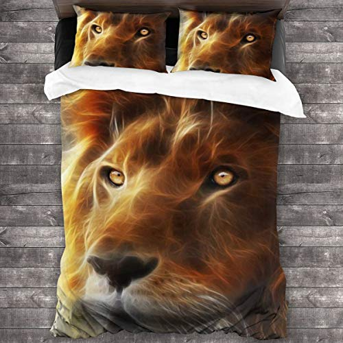 Buy Discount NOT Cool Lion Face Romantic Duvet Cover 3 Piece Set Comforter Cover with Button Closure...