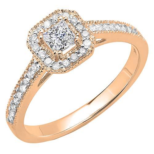 Dazzlingrock Collection - Anillo de compromiso para mujer de oro de 10 quilates y diamante redondo cultivado en laboratorio, 1/2 CT