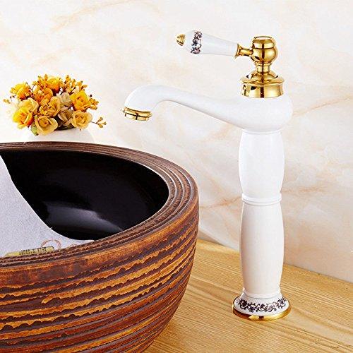 Grifo mezclador para lavabo, grifo de agua con cuerpo de latón y grifo dorado para agua caliente y fría, grifo de cobre para baño de color azul y blanco porcelana para lavabo, grifo antiguo chapado en oro