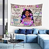 QOQIOSOC African American Tapestry Queen Black Girl Motivational Wall Hanging African Art Afro Women with Inspirational Quote Tapestries Wall Art for Hippie Bedroom Living Room Dorm Decor
