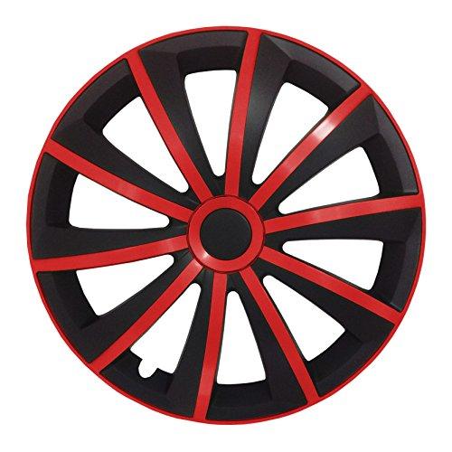 Autoteppich Stylers (Größe wählbar) 15 Zoll Radkappen/Radzierblenden GRAL MATT Schwarz/Rot passend für Fast alle Fahrzeugtypen – universal