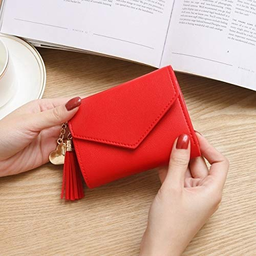 Women's Wallet PU Wallet Coin Purse Women Ladies Card Case CuteSmall Fashion Student Tassel Pendant Women Short-Red