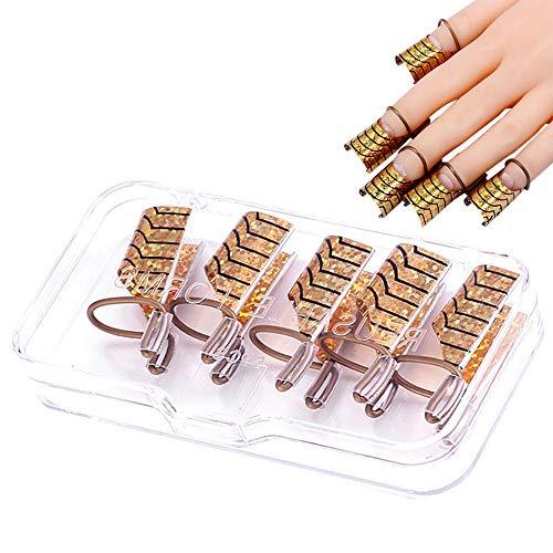 Ealicere 5 Nagelschablonen Schablonen Formen wiederverwendbare, Nail Art Erweiterung Form für Nagel Kunst Maniküre DIY 5 Gold