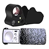 2 Pack Jewelry Loupe, TEEMOON 30X 60X 90X Lighted Illuminated Jewelers Eye Loupe Magnifier for Gems...