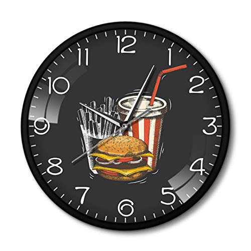 yage Wall Clocks for Living Room Best Fast Food in Town Hamburger French Fries Soda Traditional Taste Takeaway Fast Food Restaurant Metal Frame Silent Wall Clock Suitable for Study Office