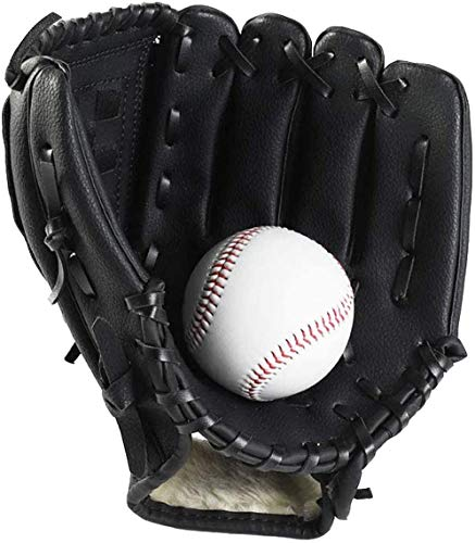 Wonninek Baseball Glove Sports Batting Gloves with Baseball PU Leather Adjustable and Comfortable 105 inch 115 inch 125 inch Right Hand Throw Left Hand Glove Black 105 inch