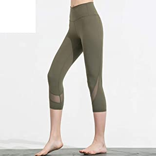 LPKH Yoga Pants Women Mesh Capri Trousers Yoga Pants Fitness Tight Leggings with Gym Workout Fitness Stretchy Skinny Slim Tummy Control (Color : Green, Size : M)