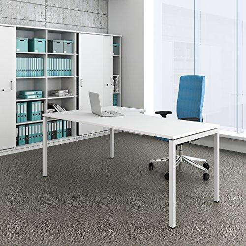 Weber Büroleben GmbH Winkelschreibtisch rechts Computertisch Eckschreibtisch 180 x 120 cm in Weiß NOVA, Gestellfarbe:Weiß