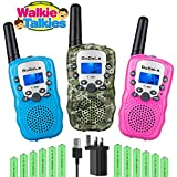 Bobela 3 Pack Kids Walkie Talkies Rechargeable with Charger Battery,Two Way Radio Fun