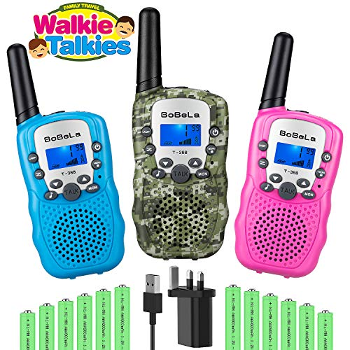 Bobela 3-Pack Kids Walkie Talkies With Charger Battery