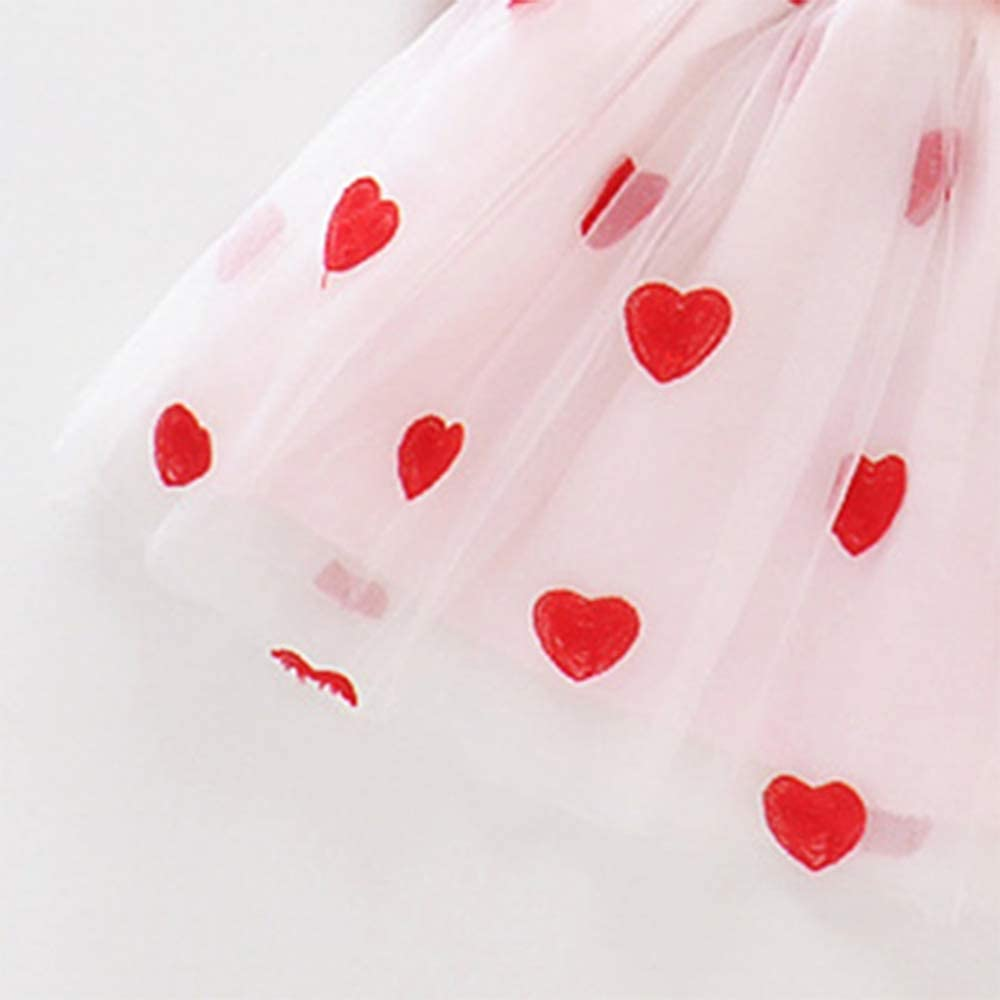 IFFEI Baby Girls Toddler Dress with Sweet Faux-Two Heart Design Princess Tutu Dress Outfit