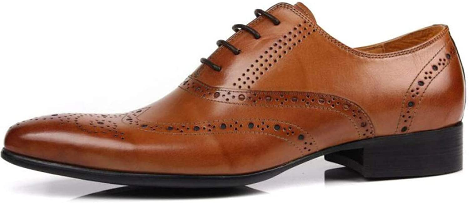 Leather England Pointed shoes Carved Men's shoes Designed Breathable Low shoes Handsome Wear shoes