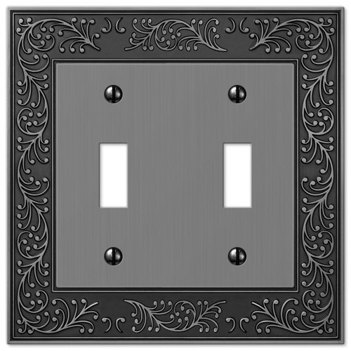 Amerelle English Garden Double Toggle Cast Metal Wallplate in Antique Nickel