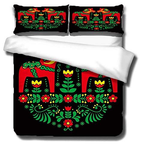 ZDDWLDL Ropa de Cama Negro Verde Rojo Comic Flor Animal Perro 100% Microfibra Funda de edredón 220x260 cm Juego de Cama para Cama Individual o Cama Matrimonio,2 Fundas de Almohada 50x75 cm