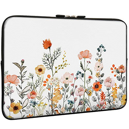 Lapac White Floral Sleeve Bag with Flowers Design 15-15.6 Inch, Water Repellent Neoprene Light Weight Computer Skin Bag, Notebook Carrying Case Cover Bag for 15/15.4/16 Inch MacBook Pro, MacBook Air