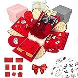 Happy Box Fotoalbum Überraschungsbox in 7 Farben, DIY SET, Explosionsbox, Scrapbook, faltbare Fotobox, Geschenk für Weihnachten,Muttertag,Jahrestag,Geburtstag,Hochzeit,Jubiläum,Valentinstag (Rot)