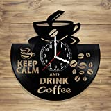 Vinyl Wall Clock Keep Calm and Drink Coffee Mania Perfect Art Decorate Home Style Unique Gift idea for Him Her (12 inches)