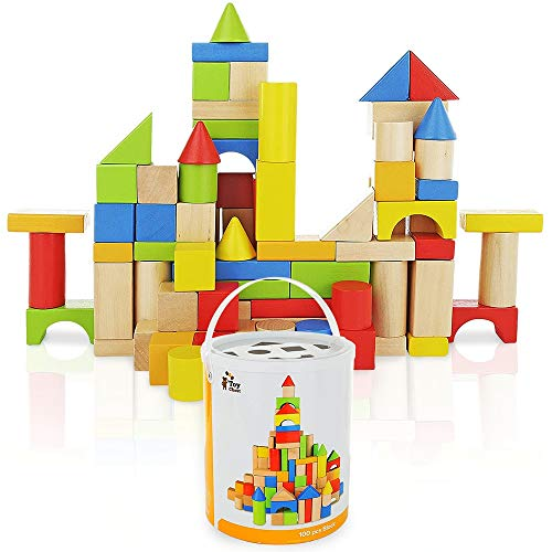 Wooden Building Blocks Set - 100 pc for Toddlers Preschool Age - Classic Hardwood Plain & Colored Small Wood Block Pieces for Boys & Girls - Basic Educational Build & Play Toy