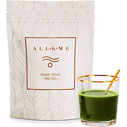 Super greens and Superfood powder - Green Drink: green tea, pea protein, psyllium husk, spirulina chlorella, aloe vera, turmeric, wheatgrass - detox drink with probiotics for adults