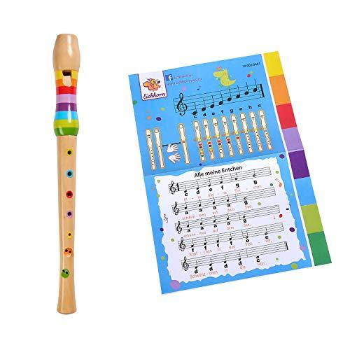 Eichhorn 100003481 Musik Holzflöte Bunte Flöte aus Holz mit 7 Löchern, inkl. Liederbuch mit DREI Liedern zum nachspielen, 32 cm lang, ab Vier Jahren