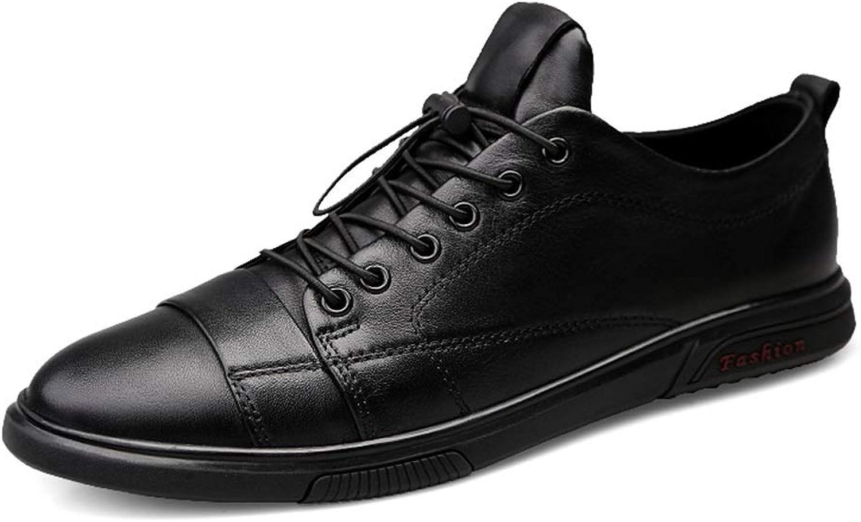 Battle Battle Battle herrar Genuine läder Casual skor ljus Andable utomhus springaning skor Flat Anti -Slip Lace Uppe Round Toe Wateproat Mode (färg  svart, Storlek  6 D (M) US)  heta sportar