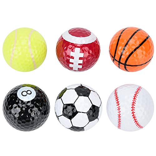 Alomejor Pelota de Golf 6 Piezas Deportes novedosos Pelotas de Golf Baloncesto Fútbol Tenis para Entrenamiento de Interior al Aire Libre Golfista Regalo