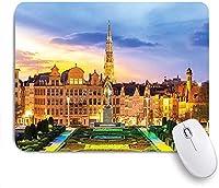 KAPANOU マウスパッド、ゴシック様式の記念碑ベルギーアベニュー中世のブリュッセルCitscape おしゃれ 耐久性が良い 滑り止めゴム底 ゲーミングなど適用 マウス 用ノートブックコンピュータマウスマット
