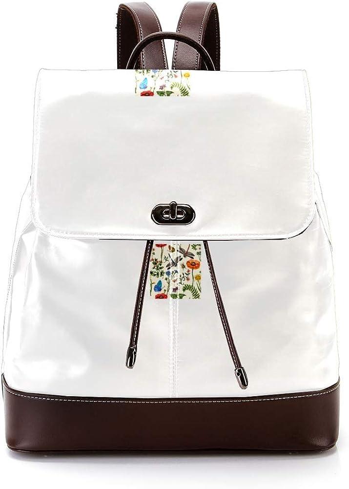 Flowers PU Leather Backpack Fashion Shoulder Bag Rucksack Travel Bag for Women Girls