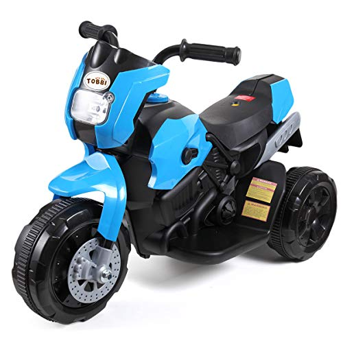 TOBBI Kids Electric Ride On Motorcycle 6V Battery Power 3 Wheel Bicycle Blue