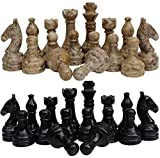 Radicaln Marble Big Board Games Complete Black and Coral Chess Figures - Suitable for 16 - 20 Inches Chess Board - Antique 32 Chess Figures Set - Completely Marble Handmade Non-Wooden Chess Pieces