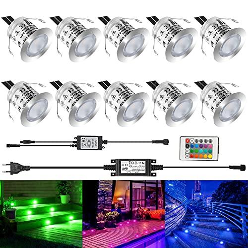 LEDMO 10 Set RGB LED Spots Encastrables Etanche IP67 Lampe de Spot A LED Mini Spots Encastrés Alimentation 12V Spots Encastrés Lampe pour Terrasse Bois Enterré Plafonnier
