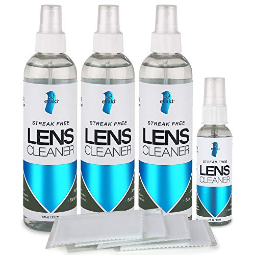 Alcohol and Ammonia-Free Evaki Lens Cleaner Bundle; Streak Free Cleaner Safe for All Lenses; 4 Bottles (3-8oz, 1-2oz) + 4 Microfibers