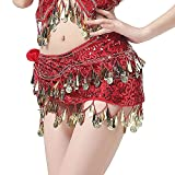 hetang Cinturón de danza del vientre de gasa con moneda dorada y cadena de danza del vientre, disfraz de danza oriental india para mujer falda de baile del vientre (color rojo, tamaño: talla única)