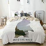 Juego de funda nórdica beige, animales salvajes de Canadá, tema de supervivencia en la naturaleza, caza, campamento, viaje al aire libre, juego de cama decorativo de 3 piezas con 2 fundas de almohada,