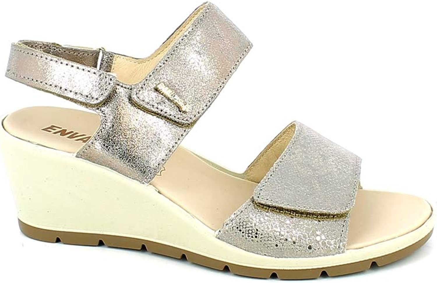 ENVAL SOFT 3292844 Women's Beige Leather Wedge Sandals Made in