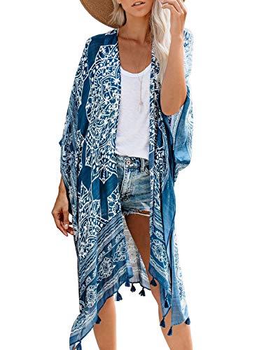 Sidefeel Women Print Pom Pom Tassel Kimono Beach Cover Up Long Cardigan One Size Blue
