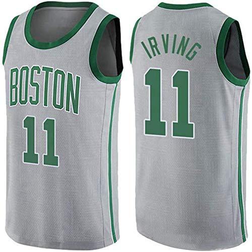 Wo nice Jersey De Baloncesto para Hombre, Boston Celtics # 11 Kyrie Irving NBA Suelta Ocasional Camiseta De Camiseta Sin Mangas Camiseta Deportiva Superior De Baloncesto Uniforme,Gris,XXL(185~190CM)