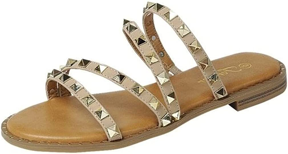 Womens Flat Studded Over the Toe Strap Sandals Slip On
